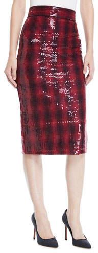 Badgley Mischka Plaid Sequin Pencil Skirt