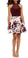 Jodi Kristopher Lace Top with Floral Print Skirt Two-Piece Dress