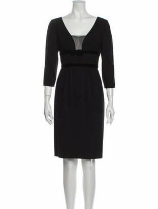 Valentino Square Neckline Knee-Length Dress Black