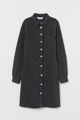 H&M Long-sleeved Denim Dress - Black