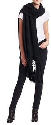 Saint Laurent Knit Wool Tassel Scarf