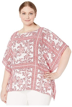 MICHAEL Michael Kors Size Ornate Scarf Flutter Top (Shell Pink) Women's Clothing