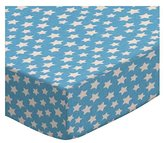 Camilla And Marc SheetWorld Round Crib Sheets - Primary Stars White On Blue Woven - Made In USA - 106.7 cm (42 inches)