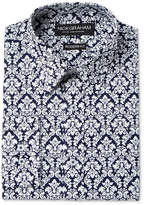 Nick Graham Men's Modern Fitted Navy & Red Floral Print Dress Shirt