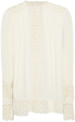 Zimmermann Pleated Guipure Lace And Silk-georgette Blouse