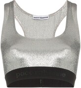 Paco Rabanne metallic logo embroidered sports bra