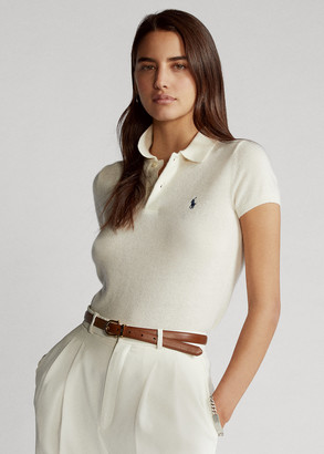 Ralph Lauren Ribbed-Hem Cashmere Polo Shirt