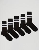 Asos Tube Style Socks In Black With Stripes 5 Pack