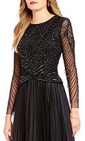 Adrianna Papell Beaded Long Sleeve Crop Top