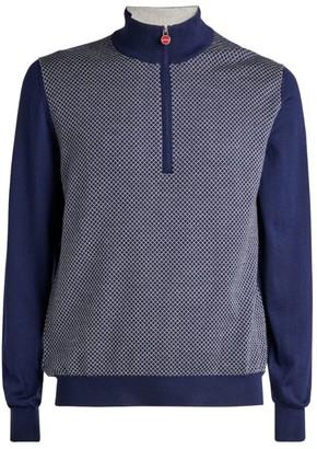 Kiton Zip-Up Diamond-Weave Sweater