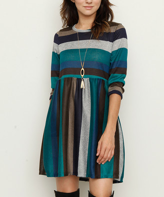 Egs By Eloges egs by eloges Women's Casual Dresses Teal - Teal & Brown Stripe Empire-Waist Tunic Dress - Women & Plus