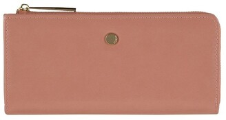 Mocha Cammy Crinkled Patent Long Wallet - Light Mauve
