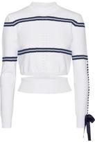 Fendi Cutout Faille-trimmed Striped Pointelle-knit Sweater - IT44