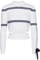 Fendi Cutout Faille-trimmed Striped Pointelle-knit Sweater - White