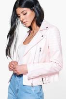 boohoo Boutique Jennifer Faux Leather Biker Jacket pink
