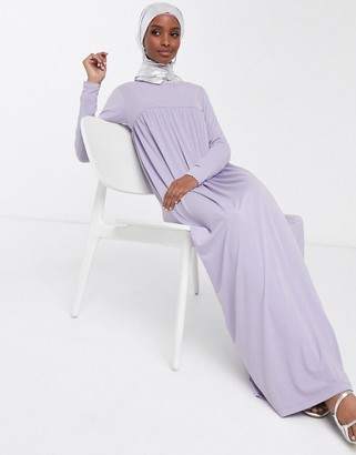 ASOS DESIGN high smock seam maxi dress with long sleeves in lilac