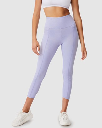 Cotton On Body Active - Women's Blue Tights - Rib Pocket 7-8 Tights - Size S at The Iconic