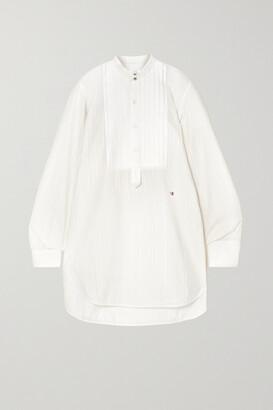 Victoria Beckham - Pintucked Paneled Embroidered Cotton-poplin Shirt - Ivory