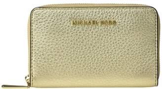 MICHAEL Michael Kors Jet Set Small Zip Around Card Case (Pale Gold) Handbags