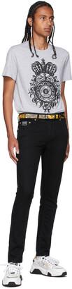 Versace Jeans Couture Black Regalia Baroque Print Belt