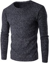 WSLCN Mens Knitted Pullover Crew-neck Long Sleeve Jumper Top Winter