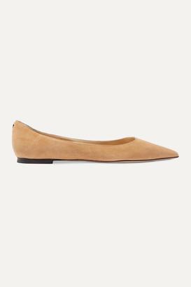 Jimmy Choo Love Suede Point-toe Flats - Beige