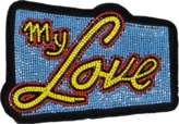 Olympia Le-Tan Olympia Le Tan Patch My Love Bag Accessory in Blue Beads