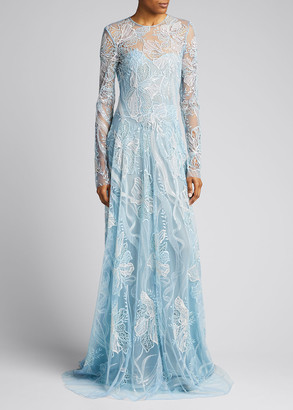 Naeem Khan Long-Sleeve Lace Illusion Gown