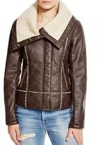 Sam Edelman Vegan Leather Jacket with Sherpa Collar