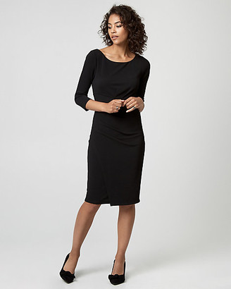 Le Château Textured Knit Crew Neck Sheath Dress