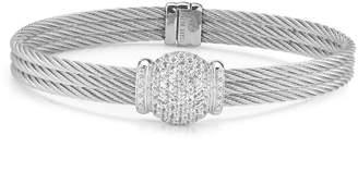 Alor Triple Cable Bangle w/ Diamond Pave, Gray