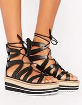 Sixty Seven Sixtyseven Tie Up Flatform Sandal