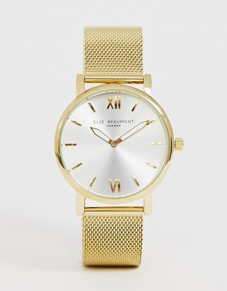 Beaumont Elie mesh watch in gold