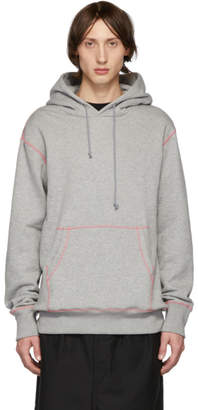 Comme des Garcons Homme Grey and Pink Seamed Hoodie