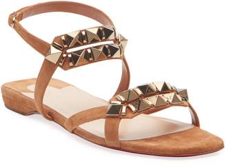 Christian Louboutin Galerietta Flat Suede Red Sole Sandals