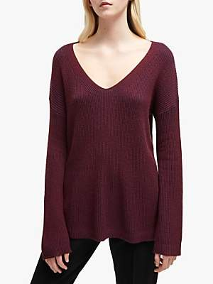 French Connection Isabea V-Neck Jumper, Plum Noir