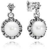 Pandora Drop Earrings - Cultured Freshwater Pearl, Sterling Silver & Cubic Zirconia Everlasting Grace