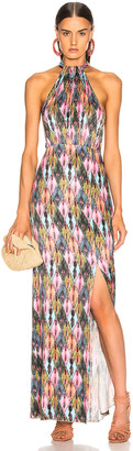 Rotate by Birger Christensen Halter Style High Slit Maxi Dress in Print | FWRD