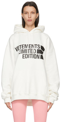 Vetements White Limited Edition Big Logo Hoodie