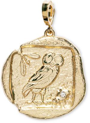 Azlee Diamond Large Owl of Athena Coin Yellow Gold Charm