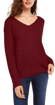 Ultra Flirt Juniors' Lace-Up Back Sweater