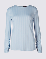 M&S Collection Ribbed Wrap Back Long Sleeve T-Shirt