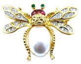 Kenneth Jay Lane Crystal, Pearl & Ruby Gold Plated Bee Brooch Pin