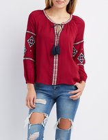 Charlotte Russe Embroidered Tie-Neck Peasant Blouse