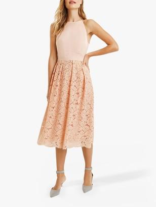 Oasis Satin Bodice Lace Midi Dress, Dusky Pink