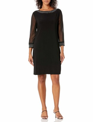 Tiana B T I A N A B. Women's Solid Jersey Shift Dress with 3/4 Sheer Sleeves