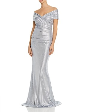 Eliza J Metallic Off-the-Shoulder Gown