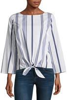 Liz Claiborne 3/4 Sleeve Scoop Neck Tie Front Stripe Blouse