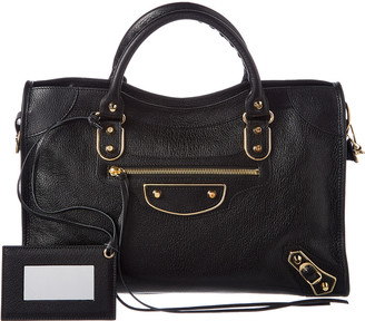 Balenciaga Classic Gold Metallic Edge City Medium Leather Shoulder Bag