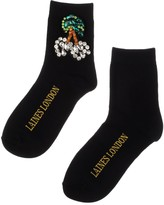 Laines London Black Bamboo Socks With Crystal Cherries Brooch